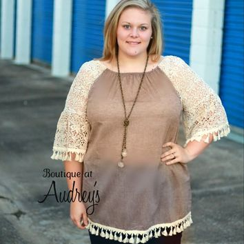Velzera Plus Taupe Linen-Look Cotton Tunic with Lace Sleeves and Tassel Trim