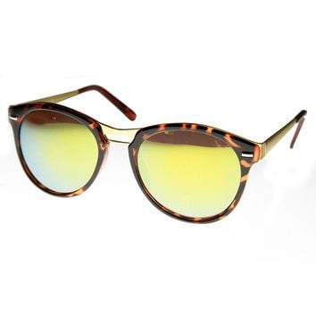 High Fashion Design Metal Temple Color Mirror Lens Round P3 Sunglasses
