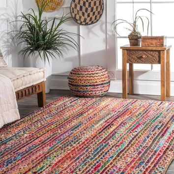 nuLOOM Aleen Braided Cotton/ Jute Area Rug
