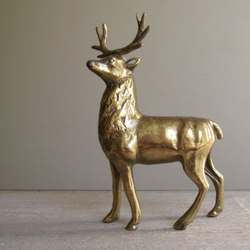 Solid Brass Deer Bank | Vintage Cast Brass Deer Figurine | Stag Coin Bank | Standing Deer with Antlers | Deer Piggy Bank | Holiday Decor