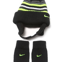 Striped Beanie & Mittens Set (Infant) by Nike