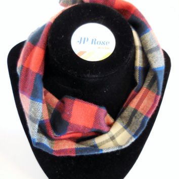 Plaid Scarf Bib in Red,Blue and White  for Babies Size 12 months-24 months
