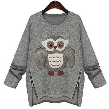 Long Sleeve Owl Pattern Zipper Design Sweatershirt