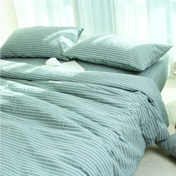 Hot Deal Bedroom On Sale Cotton Stripes Quilt Case Bed Sheet Cushion Bedding Bedding Set [6451766790]