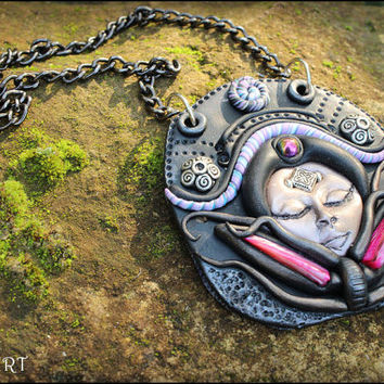 Polymer clay necklace Clay goddess pendant Pagan wicca necklace