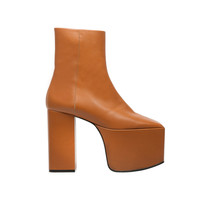 Balenciaga Platform Booties - Camel - Women's Platform Shoes