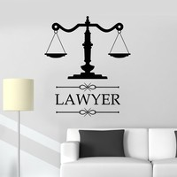 Vinyl Wall Decal Lawyer Emblem Law Office Juridical Service Center Stickers Mural Unique Gift (ig5114)
