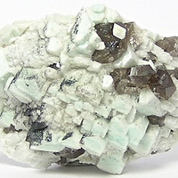 Amazonite Crystals Faintly Blue Microcline with Smoky Quartz Rock Crystal and hematite sparkly dust Feldspar Mineral Specimen Geology Sample