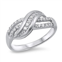 925 Sterling Silver CZ Promise Knot Designer Ring 9MM