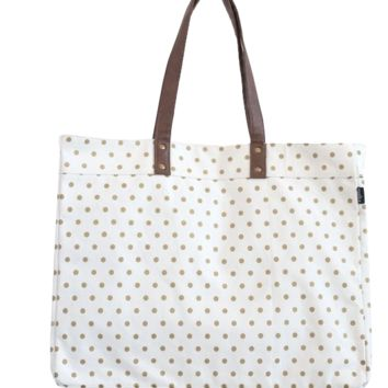 Metallic Gold Dots Carryall Tote