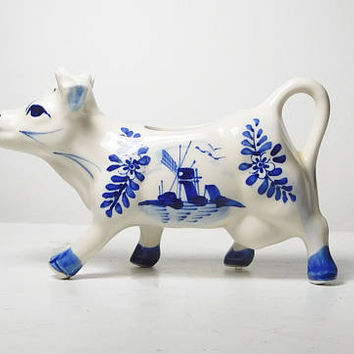 Porcelain Cow Creamer Gravy Boat Pitcher Delft Blue White Dutch Holland Windmill Scene No Chips or Breaks Farmhouse Decor