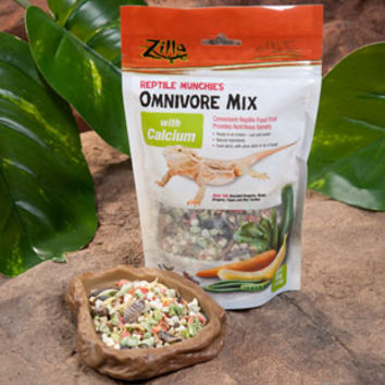Zilla Reptile Munchies Omnivore Mix for Bearded Dragons, Water Dragons, Tegus, Box Turtles