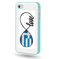 SudysAccessories Greek Love Greece Flag Infinity Love iPhone 4 Case iPhone 4S Case - Aqua Blue SoftShell Full Plastic Direct Printed Graphic Case