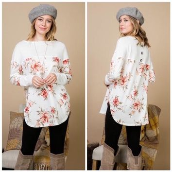 Ivory Floral Sweater with Button & Lace Back