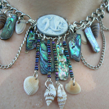 mermaid abalone necklace mermaid siren cameo abalone seashells mermaid jewelry resort wear cruise wear beach wear high fashion gypsy boho