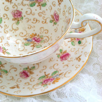 Vintage Victoria Tea Cup and Saucer English Rose Pattern / Cottage Style / Tea Party / Made in England