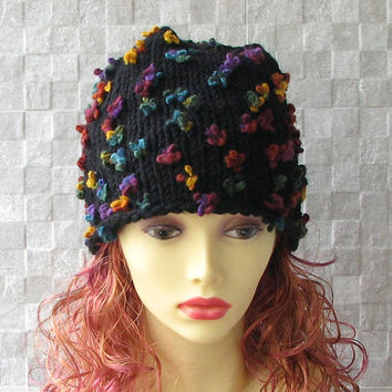 Hand Knit Beanie in Black  Women's Winter Fashion 2015 Hand-knitted hat by the AlbadoFashion