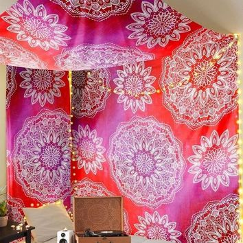 Mandala Madness Pink Red Ombre Boho Tapestry