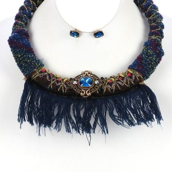 Blue Faceted Glass Stone Braided Fabric Cord Bib Necklace And Earring Set