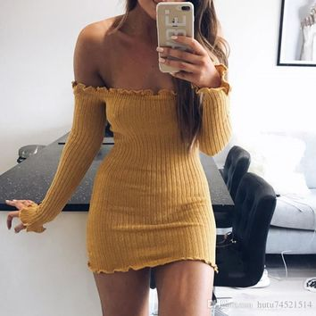Sexy Off Shoulder Club Women Dress Slim Bodycon Dress Autumn Winter Knitted Elastic Sweater Party Night Dresses Vestidos