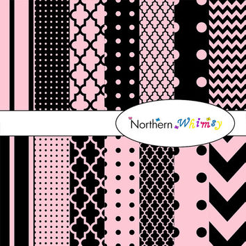 Digital Scrapbooking Paper Pack – Pastel Pink & Black paper in stripes, chevron, polka dot, and quatrefoil – instant download – CU OK