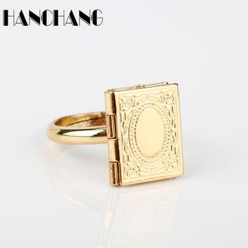 Beauty and Beast Jewelry Rings Magic Book Shaped Finger Rings for Women Men Spinner ring