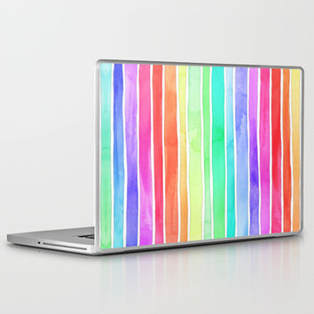 Bright Rainbow Colored Watercolor Paint Stripes Laptop & iPad Skin by micklyn