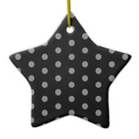 Trendy Black and Gray Polka Dots Pattern Double-Sided Star Ceramic Christmas Ornament