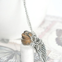 Bottle Necklace - Angel dust with angel wing charm