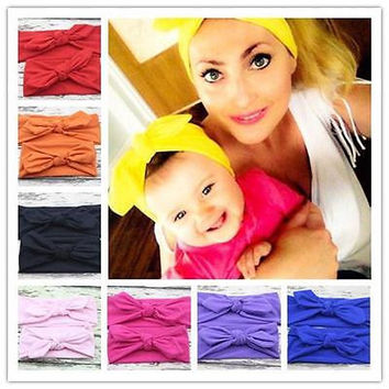 Family fitted Headwear Parent-Child Bow Headband Women Mom Hair Band +Infant Baby Headwrap Headwear Hot