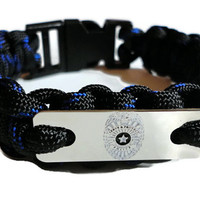 Bracelet Paracord Survival Police Officer Shield Badge Thin Blue Line Color Handmade USA
