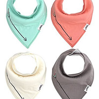 Matimati Baby Bandana Drool Bibs With Snaps For Girls & Boys - Super Absorbent, Soft, & Modern Set of 4 - Cute Baby Shower Gift (Solid Arrow Mint)