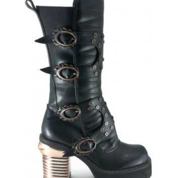 Harajuku Steampunk Captain Womens Black Boot - Hades Alternative Footwear from ShoeOodles