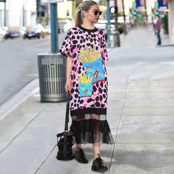 Women's pink Leopard Black Printed Runway Dress With Mesh Shirt dress Cotton Fashionable Dresses of the big sizes for complete