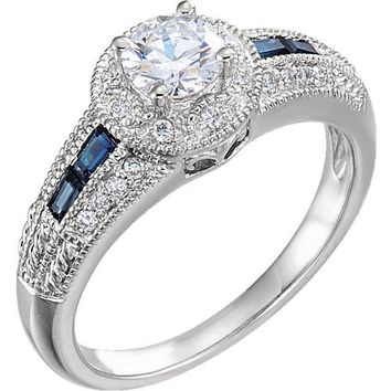 14K White Gold Blue Sapphire & 3/4 CTW Diamond Complete Engagement Ring