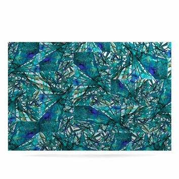 """Ebi Emporium """"New Directions, Peacock Cool"""" Teal Blue Pattern Geometric Mixed Media Painting Luxe Rectangle Panel"""
