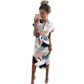 Women Midi Pencil Dress Summer Geometric Multi-color Mid-Calf Length Stand Collar Novelty 2017 Dresses