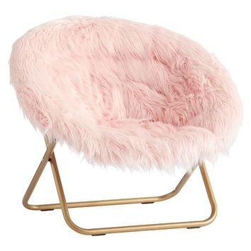 Himalayan Blush Faux-Fur Hang-A-Round Chair
