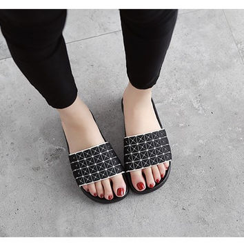 Stylish Design Slippers Summer Couple Home Thick Crust Anti-skid Sandals [10788523599]
