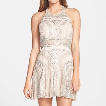 Women's Parker 'Leona' Beaded Silk Halter Fit & Flare Dress