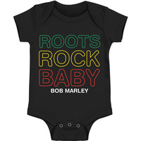 Bob Marley Boys' Roots Rock Baby Bodysuit Black Rockabilia
