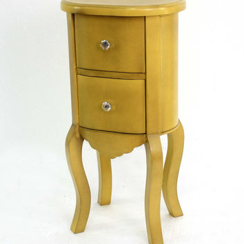 Funny Doll-like Yellow Wooden End Table with 2 Drawers