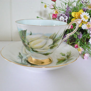 Paragon vintage bridal or gift  white rose tea cup and saucer called Virgo by Harry Wheatcroft