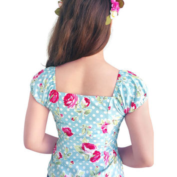 Pin Up Top Floral Top Blue Rose Vintage Top Flower Retro Top Vintage Gypsy Rockabilly Top 1950s Top Clothing Summer Top Bridesmaid  Dress
