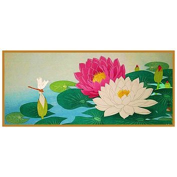 Japanese Artist Ohara Shoson's Lotus Flower and a Dragonfly Counted Cross Stitch Pattern