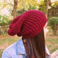 Burgundy hat,dark red woman hat,red woman hat,slouchy beanie,hand knit hat,handmade hat,woman accessories,winter accessories,