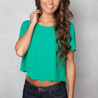 One Way Green Crop Top