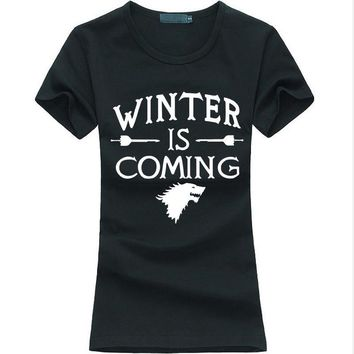 Hot Game of Thrones Women T-Shirt Winter Is Coming letter Print Tops for lady fashion brand harajuku tee shirt femme punk 2016