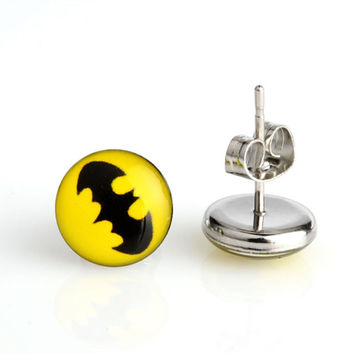 Batman Stud Earrings, DC Comic Jewelry, Batman, Resin Stud Earrings, Hypoallergenic Earrings, Super Hero Earrings