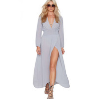 Light Purple Deep V-Neck Long Sleeves Waist Chiffon Maxi Dress With Slit